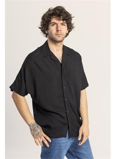 XHAN Kahverengi Desenli Oversize Gömlek 1Kxe2-44813-18 Siyah